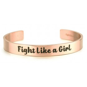 """Fight Like a Girl"" Stainless Steel 9mm Bangle Cuff Bracelet - Rose Gold"