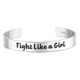 """Fight Like a Girl"" Stainless Steel 9mm Bangle Cuff Bracelet - Silver"
