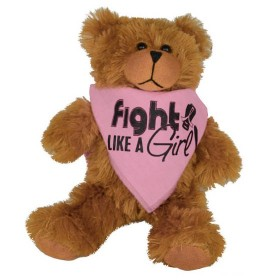 """Fight Like a Girl Signature"" Teddy Bear Fight Pal With Bandana - Pink"