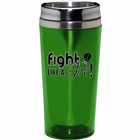 """Fight Like a Girl Signature"" Stainless Steel Acrylic Travel Tumbler - Lime Green"