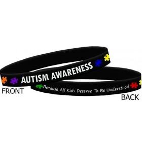 """Autism Awareness"" Ink-Filled Silicone Wristband Bracelet - Black"