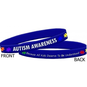 """Autism Awareness"" Ink-Filled Silicone Wristband Bracelet - Blue"
