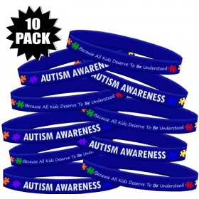 """""""Autism Awareness"""" Ink-Filled Silicone Wristband Bracelet - Blue (10 Pack)"""