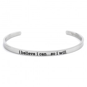 """I Believe I Can"" Stainless Steel Skinny Bangle Cuff Bracelet"