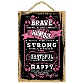 """Brave"" Wooden Wall Hanging Plaque - Pink"