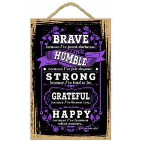 """Brave"" Wooden Wall Hanging Plaque - Purple"