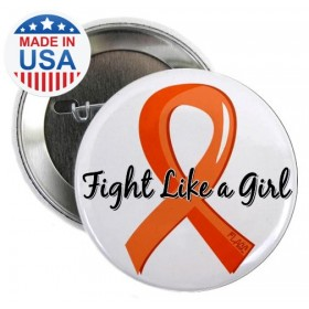 "CLOSEOUT ""Fight Like a Girl Ribbon"" Round Button - Orange"