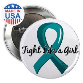 "CLOSEOUT ""Fight Like a Girl Ribbon"" Round Button - Teal"