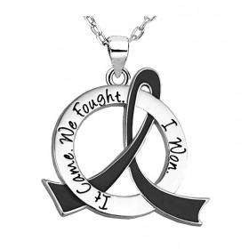 """It Came. We Fought. I Won."" Survivor Necklace - Black Ribbon"