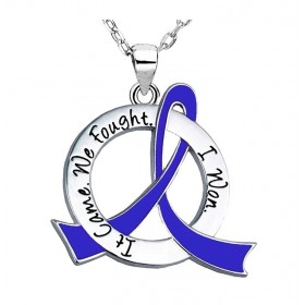 """It Came. We Fought. I Won."" Survivor Necklace - Blue Ribbon"