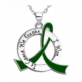 """""""It Came. We Fought. I Won."""" Survivor Necklace - Emerald Green"""