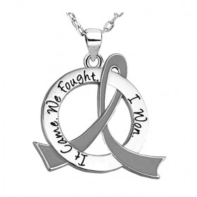 """It Came. We Fought. I Won."" Survivor Necklace - Grey Ribbon"