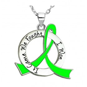 """It Came. We Fought. I Won."" Survivor Necklace - Lime Green Ribbon"