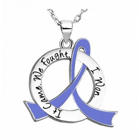 """It Came. We Fought. I Won."" Survivor Necklace - Periwinkle"