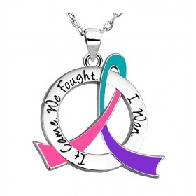 """It Came. We Fought. I Won."" Survivor Necklace - Teal, Purple, Pink Ribbon"