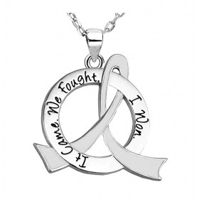 """It Came. We Fought. I Won."" Survivor Necklace - White Ribbon"