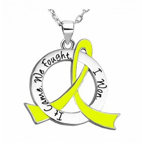 """It Came. We Fought. I Won."" Survivor Necklace - Yellow Ribbon"