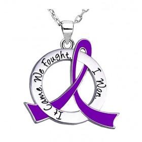 """""""It Came. We Fought. I Won."""" Survivor Necklace - Purple Ribbon"""