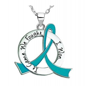 """It Came. We Fought. I Won."" Ovarian Cancer Survivor Necklace - Teal Ribbon"