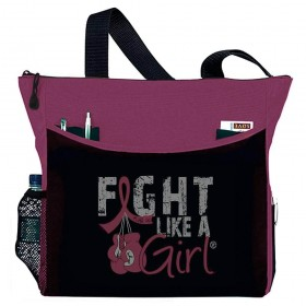 """Fight Like a Girl Knockout"" Dakota Tote Bag - Burgundy"