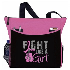 """Fight Like a Girl Knockout"" Breast Cancer Awareness Dakota Tote Bag - Hot Pink"