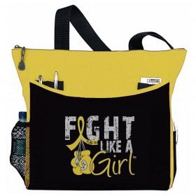 """Fight Like a Girl Knockout"" Dakota Tote Bag - Yellow"