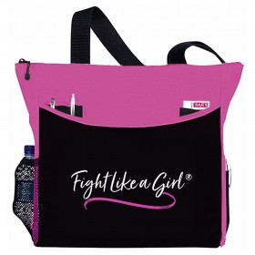 """Fight Like a Girl Script"" Dakota Tote Bag - Pink"