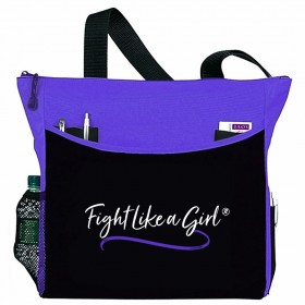 """Fight Like a Girl Script"" Dakota Tote Bag - Purple"