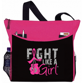 """Fight Like a Girl Knockout"" Dakota Tote Bag - Breast Cancer"