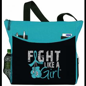 """Fight Like a Girl Knockout"" Dakota Tote Bag - Teal"
