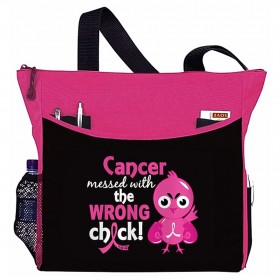 """Messed With The Wrong Chick"" Dakota Tote Bag - Hot Pink"