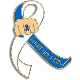 """""""I Fight Like a Girl Fist"""" Lapel Pin - Blue and White"""