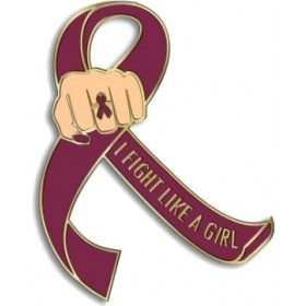 """I Fight Like a Girl Fist"" Lapel Pin - Burgundy"