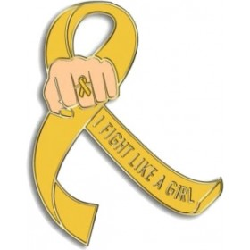 """""""I Fight Like a Girl Fist"""" Lapel Pin - Gold"""