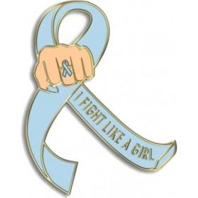 """I Fight Like a Girl Fist"" Lapel Pin - Light Blue"