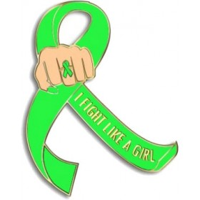 """I Fight Like a Girl Fist"" Lapel Pin - Lime Green"