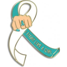 """""""I Fight Like a Girl Fist"""" Lapel Pin - Teal and White"""