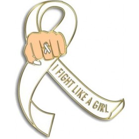 """""""I Fight Like a Girl Fist"""" Lapel Pin - White"""