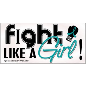 """Fight Like a Girl Signature"" Bumper Sticker - Teal"