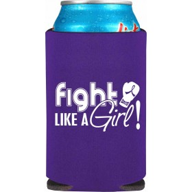 """Fight Like a Girl Signature"" Koozie - Purple"