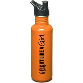 """Fight Like a Girl Hybrid"" Stainless Steel Sports Bottle - Orange"