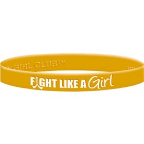 """""""Fight Like a Girl Hybrid"""" Ink-Filled Silicone Wristband - Gold"""