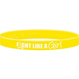 """Fight Like a Girl Hybrid"" Ink-Filled Silicone Wristband - Yellow"