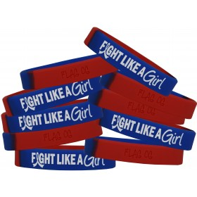 """Fight Like a Girl Hybrid"" Ink-Filled Silicone Wristband - Blue & Red (10 Pack)"