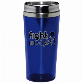 """Fight Like a Girl Signature"" Stainless Steel Acrylic Travel Tumbler - Blue"