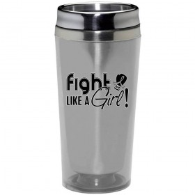 """""""Fight Like a Girl Signature"""" Stainless Steel Acrylic Travel Tumbler - Silver"""