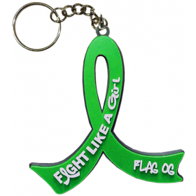 """Fight Like a Girl Hybrid"" Awareness Ribbon Keychain - Green"
