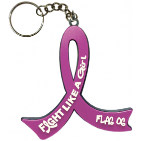 """Fight Like a Girl Hybrid"" Awareness Ribbon Keychain - Lavender"