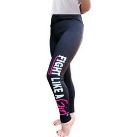 """Fight Like a Girl Hybrid"" Leggings - Black"