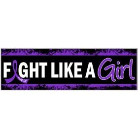 """""""Fight Like a Girl Hybrid"""" Bumper Sticker - Black w/ Purple"""
